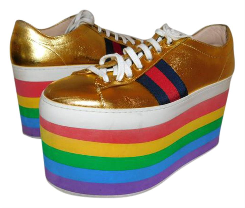 414e48e1a Gucci Gold Peggy Rainbow Sneakers Platforms Size US 7 Regular (M, B ...