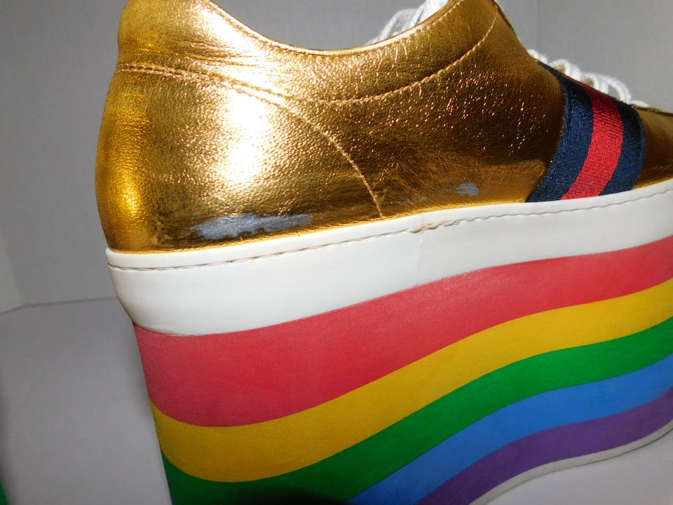 f6486f9dcfee Gucci Gold Peggy Rainbow Sneakers Platforms Size US 7 Regular (M