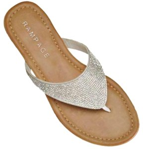 Rampage Silver Embellishment / White Thong Sandals