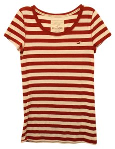 Hollister Striped Bold Stripe Scoop Neckline Naughtical T Shirt red & white