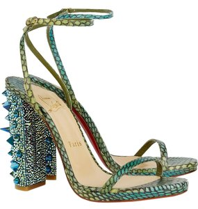 Christian Louboutin Pigalle Boots Slingback Green Multi Sandals