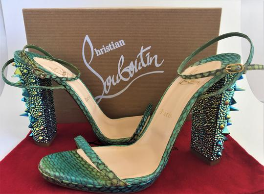 Christian Louboutin Pigalle Boots Slingback Green Multi Sandals Image 2