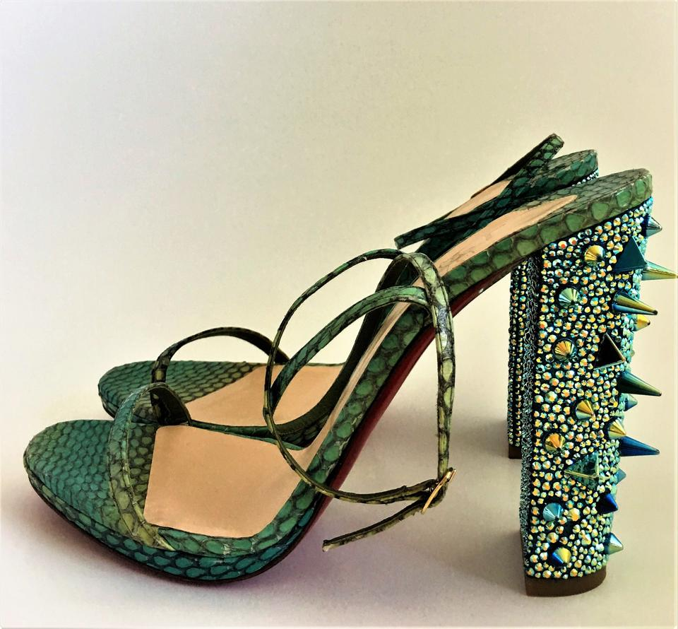 Lady Snake Sandals Multi Green Louboutin Christian Au Spike Red Palace It Toe Sling Leather Crystal Pump FqSHPxPz