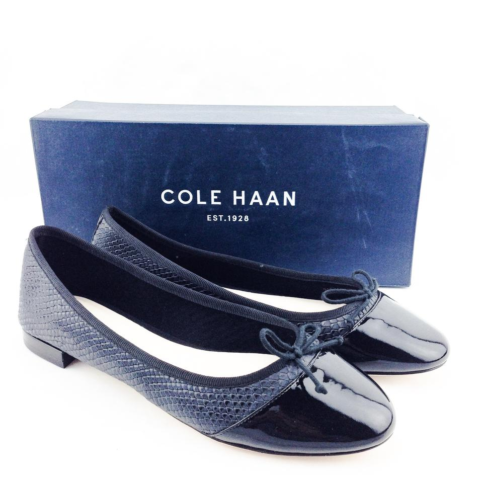 78b4ad41e5 Cole Haan Sarina Patent Leather Snakeskin Embossed Black Flats Image 0 ...