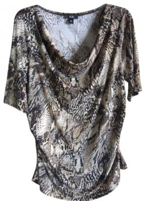 Preload https://img-static.tradesy.com/item/21638/agb-tan-with-blackbrown-animal-print-34-sleeve-drop-cowl-neck-blouse-size-16-xl-plus-0x-0-0-650-650.jpg
