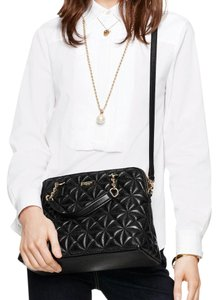 Kate Spade Quilted Leather Satchel Textured Chain Tote in Black