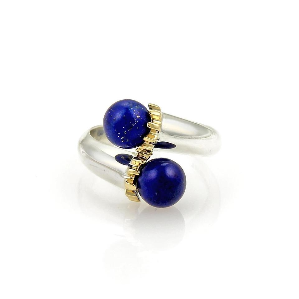3a14b089c Tiffany & Co. Lapis Sterling Silver & 18k Yellow Gold Bypass Ball Ring Size  6 ...