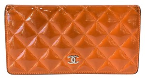 Chanel Chanel CC Logo Quilted Orange Patent Wallet