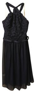 David's Bridal Marine (Navy) Short Halter Lace And Mesh Dress - F17020 Dress