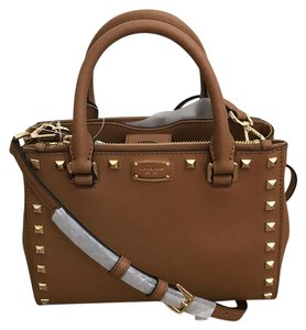 a57549a62385 Added to Shopping Bag. Michael Kors Satchel in ACORN. Michael Kors Kellen  Studded Xs In Blossom/Gold Acorn Saffiano Leather Satchel