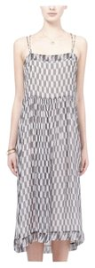 black and white print Maxi Dress by Isabel Marant Silk Camisole Sundress Midcalf Crisscross Strap