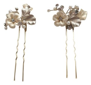 BHLDN Pearl Ivory Gold and Crystal Twigs Honey Petite Flora Pins Hair Accessory