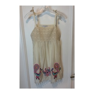OndadeMar Embroidered Cream Casual Dress Coverup