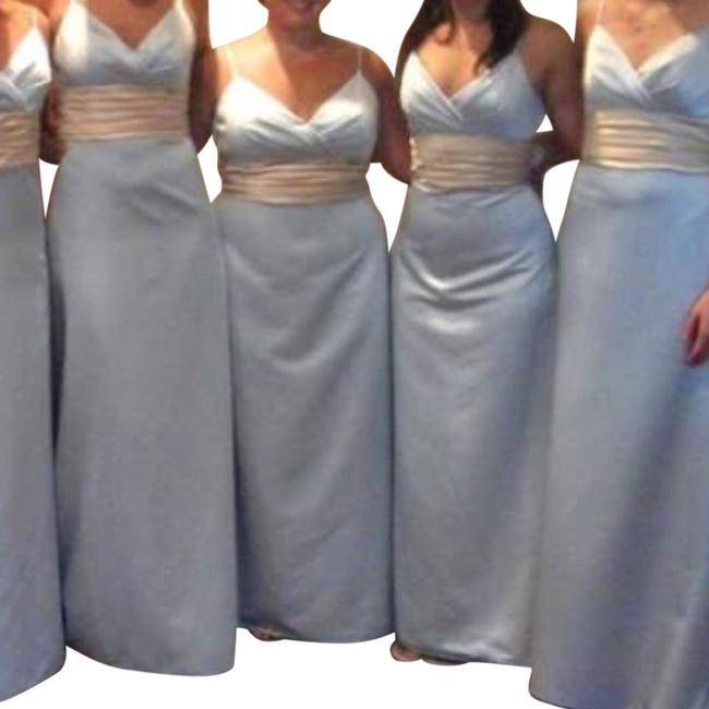 Item - Light Blue A-line with Champagne Sash Long Formal Dress Size 4 (S)
