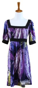 Max and Cleo short dress Purple Patterned Short Sleeve Functional on Tradesy