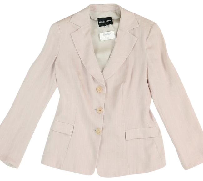 Item - Pink Pale Pastel Cream Pinstripe Back Bow Single Breasted Italy 48 Blazer Size 14 (L)