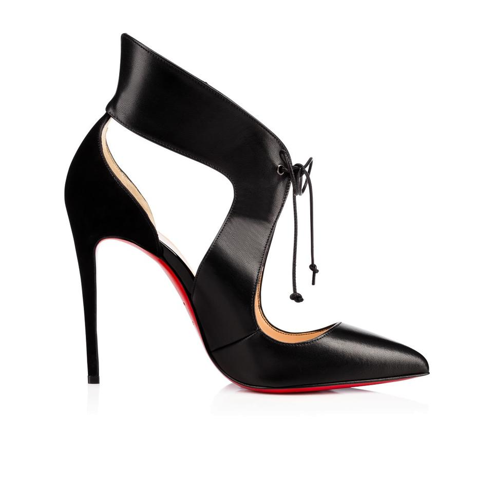 04ade0d599d Christian Louboutin Black Ferme Rouge Suede Leather Self Tie Pointed Toe  Pumps