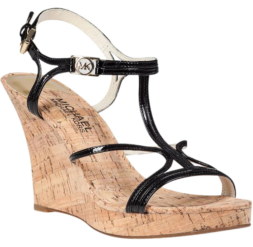 b8f94ee13c Michael Kors Black Cicely Patent Leather Sandals Wedges Size US 7 ...