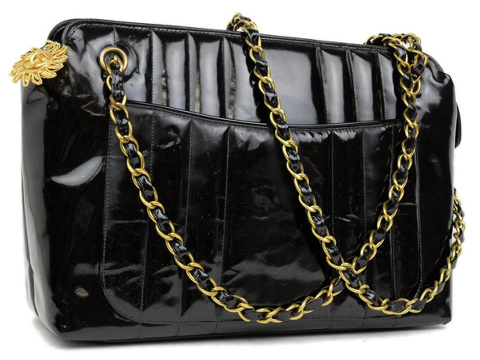 d64291bb5dae Chanel Mademoiselle Camera 220121 Black Vertical Quilted Patent ...