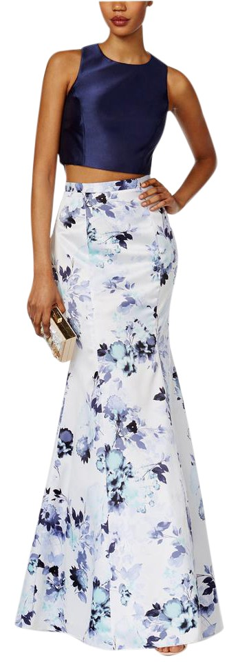 Xscape 2-pc. Floral-print Mermaid Gown Navy/Ivory Long Formal Dress ...