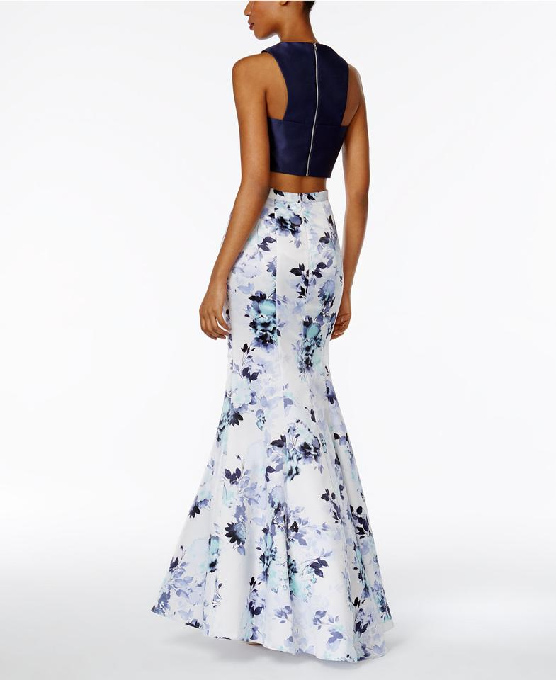 0e44f5c5 Xscape 2-pc. Floral-print Mermaid Gown Navy/Ivory Long Formal Dress ...