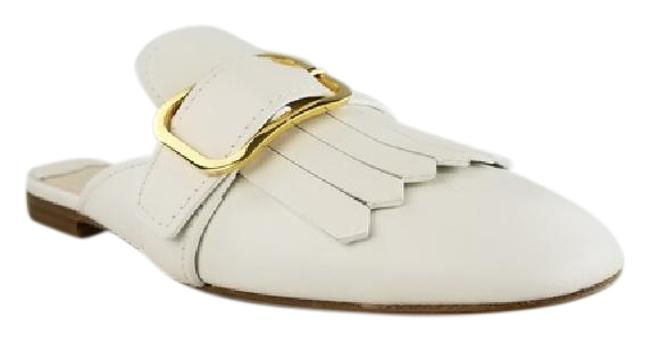Item - White Kiltie Fringed Leather Loafer Mules/Slides Size EU 38 (Approx. US 8) Regular (M, B)