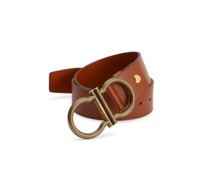 Salvatore Ferragamo SALVATORE FERRAGAMO Oversized GANCINI Adjustable Belt 32 TAN BROWN