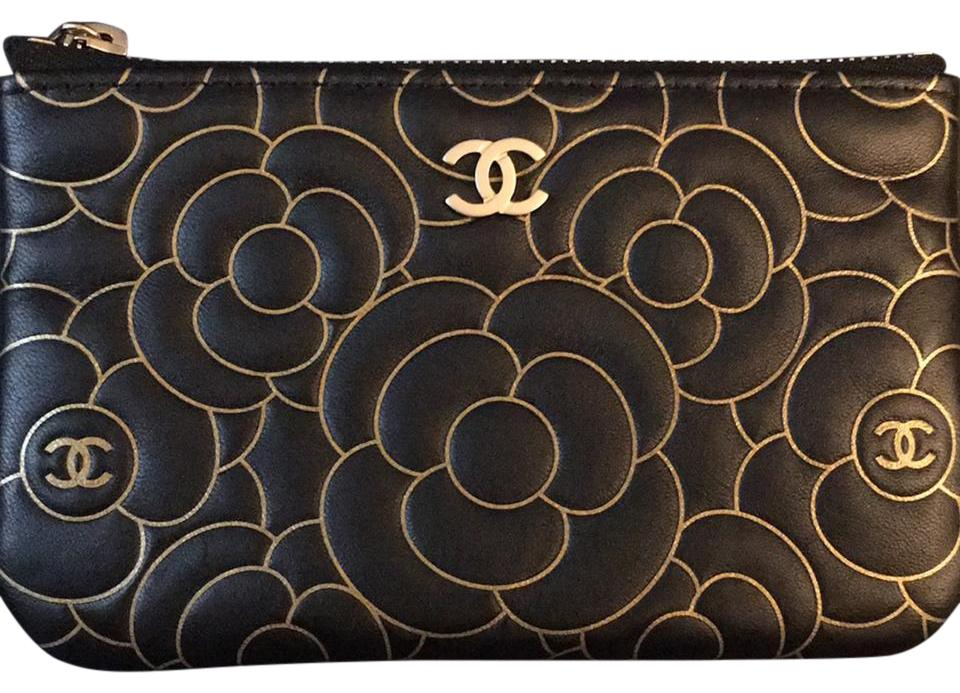 a7ba40e99d2139 Chanel Authentic Brand New Black & Gold Embossed Camellia Lambskin O-Pouch  Image 0 ...
