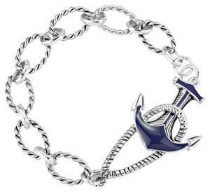 Nautical By The Sea Russian Silver and Blue Anchor Toggle Link Bracelet