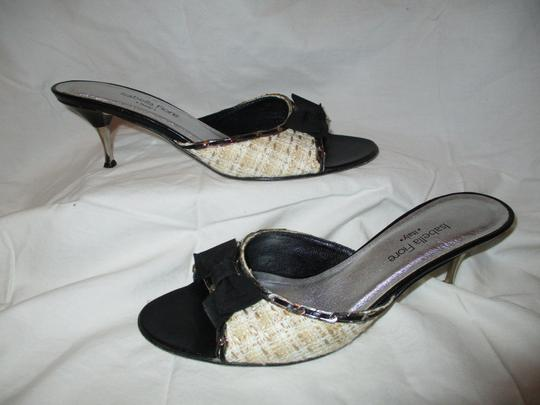 Isabella Fiore Leather Sole Tweed tan, beige & black Sandals Image 1