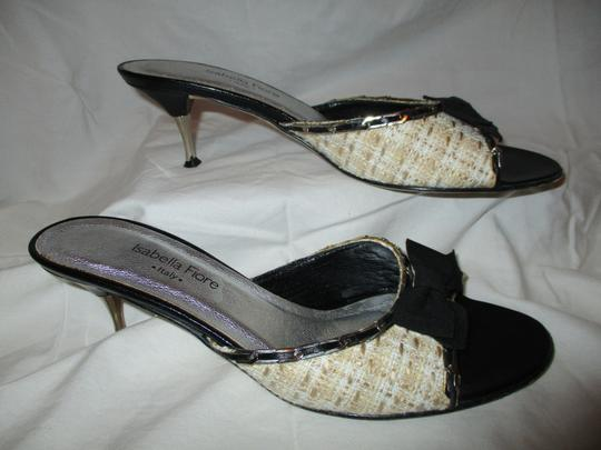 Isabella Fiore Leather Sole Tweed tan, beige & black Sandals Image 3