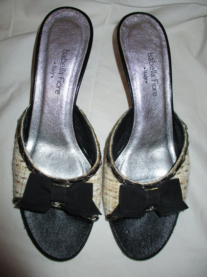 Isabella Fiore Leather Sole Tweed tan, beige & black Sandals Image 4