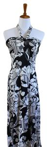 Black and White Maxi Dress by Banana Republic Halter Sleeveless Floral Full Length