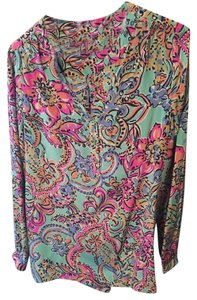 Lilly Pulitzer Long Sleeve Woven Silk Tunic