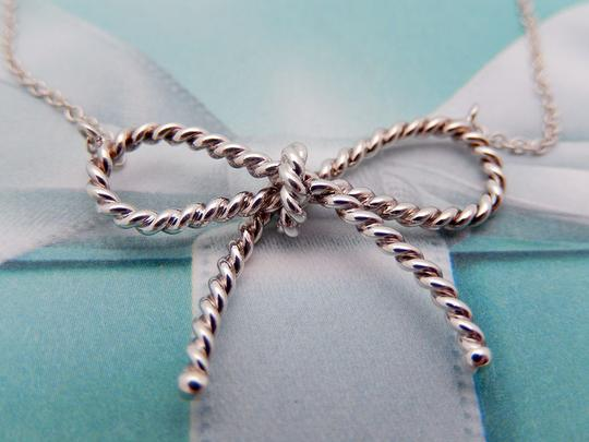 Tiffany & Co. Authentic Tiffany Sterling Silver LARGE Twisted Bow Pendant Necklace Image 1