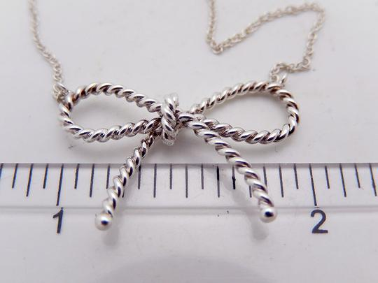 Tiffany & Co. Authentic Tiffany Sterling Silver LARGE Twisted Bow Pendant Necklace Image 2