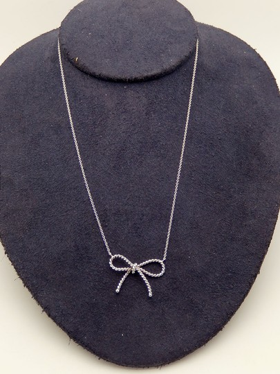 Tiffany & Co. Authentic Tiffany Sterling Silver LARGE Twisted Bow Pendant Necklace Image 4