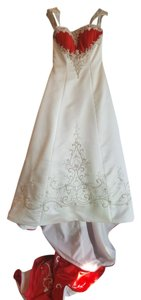 Alfred Angelo Ivory/ Cherry Satin 1193 Traditional Wedding Dress Size 12 (L)