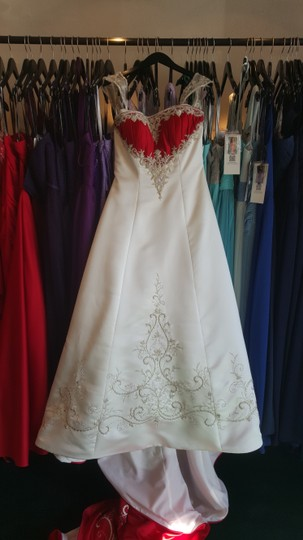 Alfred Angelo Ivory/ Cherry Satin 1193 Traditional Wedding Dress Size 12 (L) Image 1