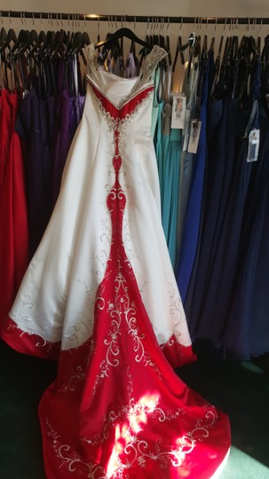 Alfred Angelo Ivory/ Cherry Satin 1193 Traditional Wedding Dress Size 12 (L) Image 2