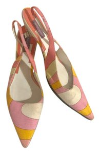 Emilio Pucci Summer Slingback Party Preppy Canvas Multi pink orange white Mules