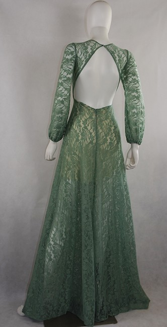 Light moss Green Maxi Dress by Lisa Nieves Lace Longsleeve Stretch Long Image 1