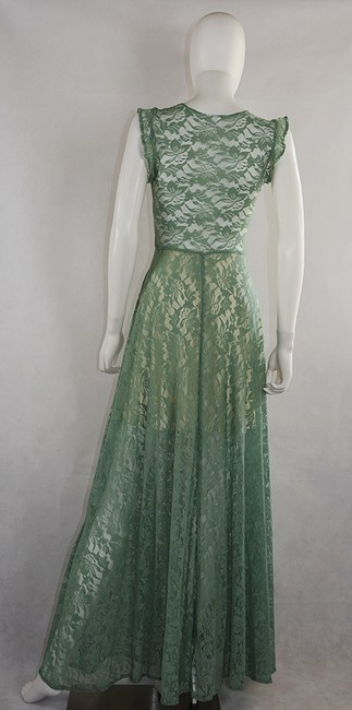 Light moss green Maxi Dress by Lisa Nieves Maxi Lace Stretch Long Image 1