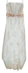 Alfred Angelo Ivory/Rum Pink Satin/ Netting 1614 Traditional Wedding Dress Size 10 (M)