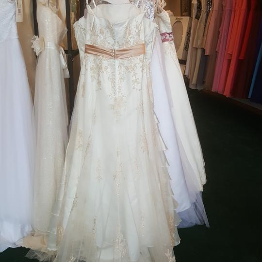 Alfred Angelo Ivory/Rum Pink Satin/ Netting 1614 Traditional Wedding Dress Size 10 (M) Image 4