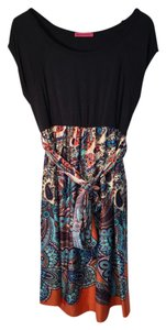 Nordstrom short dress Navy blue with orange, turquoise, and brown/beige Empire Waist Silk on Tradesy