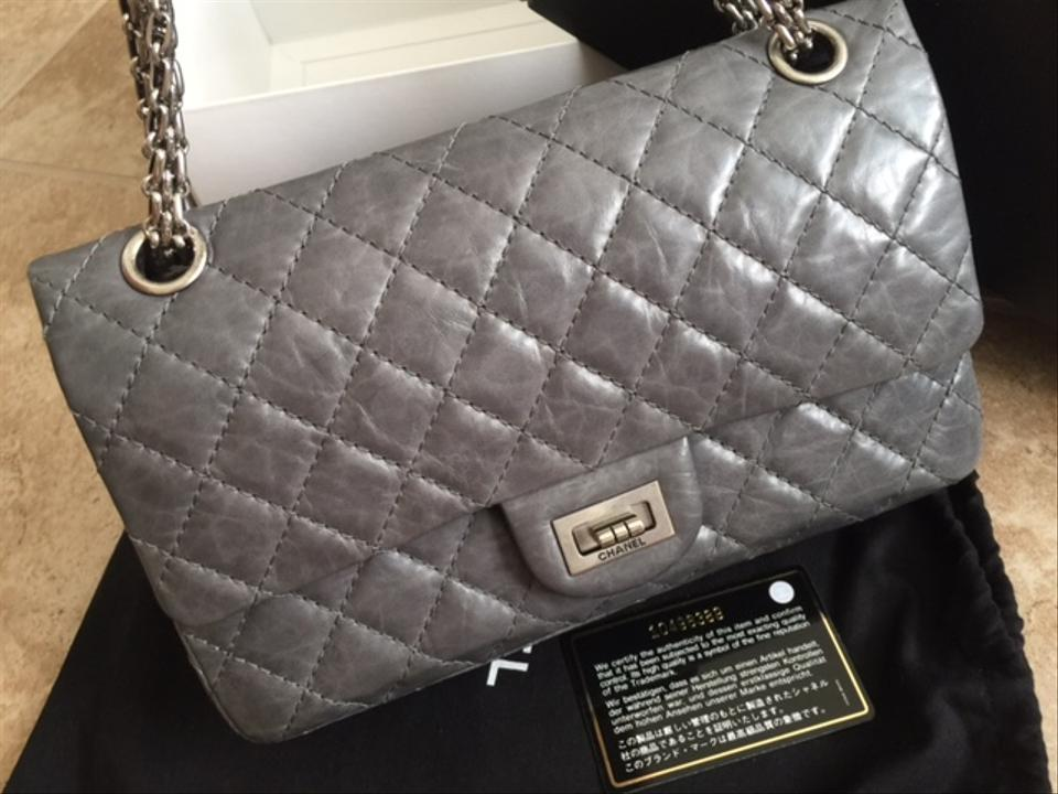 235f665712a4a Chanel Classic Flap 2.55 Reissue Quilted 50th Anniversary Double Grey Aged  Calfskin Leather Shoulder Bag - Tradesy