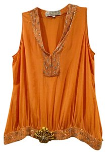 Beyond Vintage Beaded Gatsby Flapper 20's Art Deco Top Orange