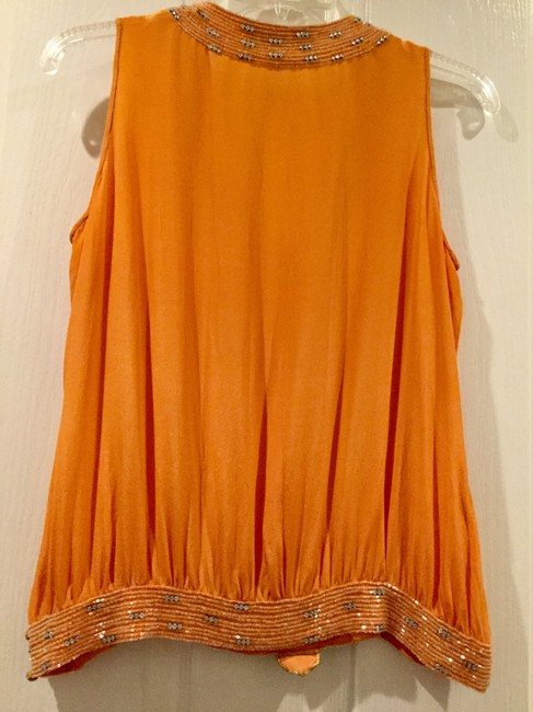Beyond Vintage Beaded Gatsby Flapper 20's Art Deco Top Orange Image 1