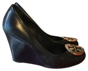 Tory Burch black and gold Wedges